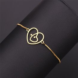Discount infinity beads - Boho Gold Color Heart Infinity Symbol Bracelets for Women Bransoletki Damskie Heart Bracelets&Bangles Wholesale Pulseras