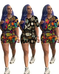 $enCountryForm.capitalKeyWord Australia - Women 2 piece set sweatsuit cute animal print Hawaii style short sleeve t-shirt skinny mini shorts summer clothing fashion running suit 719