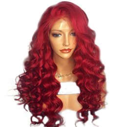 $enCountryForm.capitalKeyWord UK - Red Loose Deep Wave Synthetic Hair Lace Front Wig Glueless Heat Resistant Fiber Natural Hairline Side Part For Women
