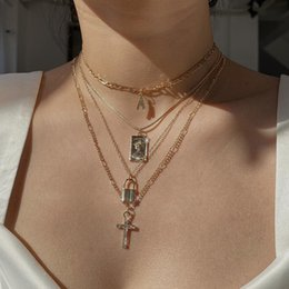 vintage lock necklace Canada - Multilevel Crystal Cross Letter A Lock Human Head Pendant Necklaces For Women Geometric Necklace Vintage Boho Fashion Jewelry
