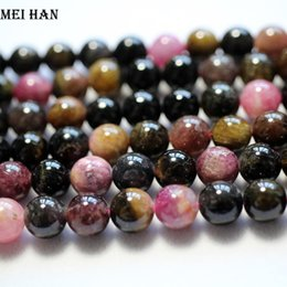 $enCountryForm.capitalKeyWord Australia - Wholesale Colorful Natural 6mm,8mm,9mm,11-12mm Tourmaline Round Loose Beads Stones Mixed Color For Diy Jewelry Making J190625