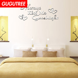 $enCountryForm.capitalKeyWord Australia - Decorate Home 3D Kiss me Goodnight letter mirror art wall sticker decoration Decals mural painting Removable Decor Wallpaper G-224