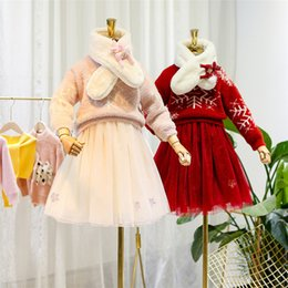 reindeer kids NZ - Winter new girls outfits chirstmas kids xmas snow knitted sweater pullover+snow embroidery lace tulle dress+reindeer scarf 3pcs sets J0370
