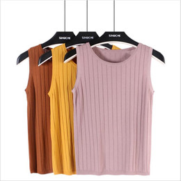 $enCountryForm.capitalKeyWord NZ - Knitwear Sleeveless Tops Shirt Female Knitted Short Tank Top Woman Casual Crop Tops Solid V-neck Pullover underwear