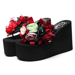 $enCountryForm.capitalKeyWord Australia - Flowers Thong Flip Flops for Women Mules High Heels 6 8 11 CM Women Flip Flops Wedge Platform Slippers Woman Summer Sandals Flip Flop