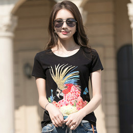 ladies t shirt embroidery 2020 - New Women's Casual Channel Slim T-shirt Women's Cotton Sequins 3D Pattern Tees Tops Office Lady Fashion Cartoo