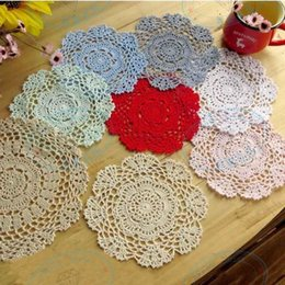 $enCountryForm.capitalKeyWord Australia - DHL Handmade Crochet Lace Pattern Crocheted Cotton Doilies Cup Pad Mats Table Cloth Coasters Round Dial 14cm Custom Colors