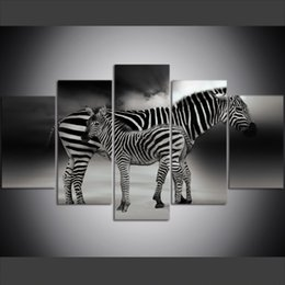 Zebra Print Art Australia - 5 Piece Large Size Canvas Wall Art Pictures Creative Animals Africa Zebra Art Print Oil Painting for Living Room