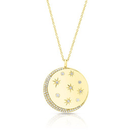 star white roses Australia - gold rose gold plated star signet necklace cz moon star engraved plated geometric classic tag women necklaces