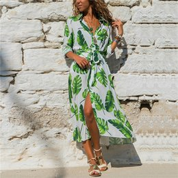 $enCountryForm.capitalKeyWord Australia - 2019 Hot Selling Women Floral Print Long-sleeved Chiffon Tie-up dress Fashion V-neck Boho Dress Street Style Dress