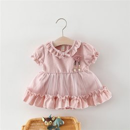 cotton party dresses for toddlers 2019 - Toddler Baby Girls Ruched Ruffles Patchwork Tulle dresses Party Princess Dresses cotton costumes for girls baby 2019 par