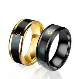 $enCountryForm.capitalKeyWord NZ - Fashion Intelligent Thermometer Temperature Measuring Ring Stainless Steel Simple Creative Couple Wedding Jewelry 5 Colors New