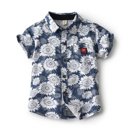 Tiny Clothes Australia - Boys Casual Sunflower Shirt Summer 2019 Tiny Cotton Toddler Boy Shirt Kids Short Sleeve Beach Children Clothes 2 3 4 5 6 Years