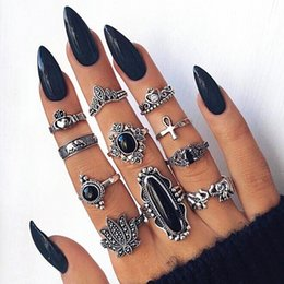 $enCountryForm.capitalKeyWord Australia - Persoanlity Elephant Lotus Crown Cross 11 Pcs Set Rings Tin Alloy Retro Gun Black Plated Elegant Dark Black Rhinestone Women Ring Jewelry