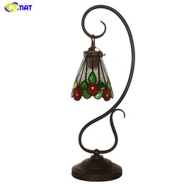 $enCountryForm.capitalKeyWord Australia - FUMAT Stained Glass Table Lamp European Vintage Flower Shade Table Lamp Living Room Bedside Lights Caffee Bar Light Fixtures