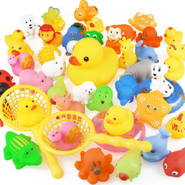 $enCountryForm.capitalKeyWord Australia - 15pcs bag Bath Toy Animals Swimming Water Toys Mini Colorful Soft Floating Rubber Duck Squeeze Sound Funny Gift For Baby Kids water toys