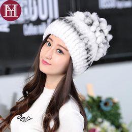 b0aeccc5e82 2018 Winter hat for Women Rex Rabbit Fur cap lady Real Rabbit+Fox Fur  Beanies Elastic Warm Fashion female brand headgear S18120302