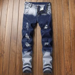 Wholesale dark blue rip jeans resale online – designer New Fashion Designer Jeans Men Straight Dark Blue Color Printed Mens Jeans Ripped Cotton Male Pants