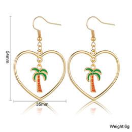 $enCountryForm.capitalKeyWord UK - Women Hallow Heart With Coconut Tree Drop Earrings Cute And Romantic Earrings Handmade Individuality Korean Wedding Jewelry