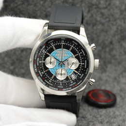 $enCountryForm.capitalKeyWord Australia - Transocean Men Watch 44MM Quartz Chronograph Date Mens Watches Excellent Wrtistwatches With World Time Black Dial and Rubber Band