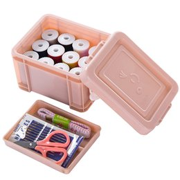 Sewing boxeS Storage online shopping - 15pcs set Mini Travel Plastic Sewing Kit Tool with Storage Box Crochet Full Set Needle Measure Tape Scissor Sewing Kit