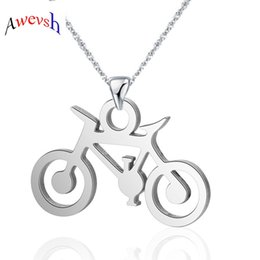 cycle pendant Australia - Awevsh 2019 Bicycle Cycling Men Necklace Figure Bicycle Rider Necklace Sport Jewelry Gift Man Stainless Steel Chain