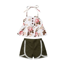 Wholesale 1 T Princess Set Summer Toddler Baby Girl Kids Party Layer Royal Style Floral Lace Button Halter Tassel Shorts Green Pants