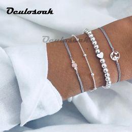 $enCountryForm.capitalKeyWord NZ - 4 Pcs set Women's Exquisite Gem Beads Heart Round Geometry Tassel Bracelet Set Bohemian Vintage Jewelry Accessories Gifts