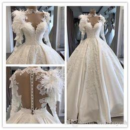 $enCountryForm.capitalKeyWord Australia - Real Photo Ball Gown Long Sleeve Vintage Muslim Wedding Dresses 2019 High Neck Feather Satin Wedding Gowns Queen For Women