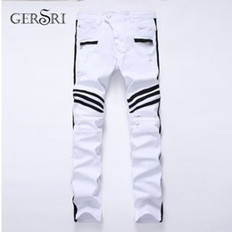white jeans branded NZ - Gersri New brand fashion stretch mens jeans white printing men Straight elastic casual trousers Tight denim printed pant for men
