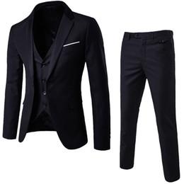 90418d7128a Luxury Men Wedding Suit Male Blazers Slim Fit Suits For Men 3-Piece Suit  Blazer Business Wedding Party Jacket Vest   Pants