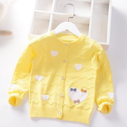 cotton knit patterns NZ - 2020 Spring Autumn New Girls princess Sweaters Love pattern bow Kids Cotton Coat Children Clothing Baby Knitted cardigan Coat