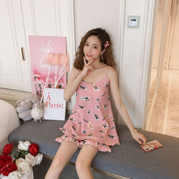 Cute sexy nightgowns online shopping - YF210 with chest pad free wearing  underwear pajamas sling sweet e516c19e6