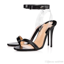 Heeled sandals nude online shopping - Red sandals Clear slingback heels sandal transparent strap Women high heels party wedding fashion summer shoes fda