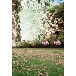 backdrop background for photography forest 2019 - Vinyl Photography Background Pink Flower Trees Green Lawn Forest Wedding Photo Backdrop for Photo Studio S-266 cheap bac