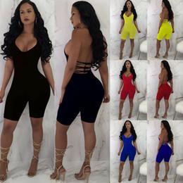Toptan satış Tulum Parti Pantolon Kolsuz V Yaka Kadınlar Romper Bodycon Playsuit Clubwear