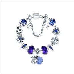 592995f1c 2019 Moon Blue Starry Sky Beads Silver fit Sterling Silver Pandora Charm  Bracelet Jewelry DIY Moon and Star Dangle with Crystal Pendant
