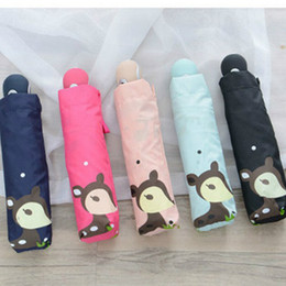 umbrella children cartoon NZ - Creative Cartoon Children Umbrella Full Automatic Mini Pocket 3 Folding Umbrella Rain Women Male Windproof Kids 40U0087