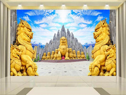 forest backdrops 2021 - custom size 3d photo wallpaper living room bed room mural blue sky stone forest lion 3d picture sofa TV backdrop wallpaper non-woven sticker