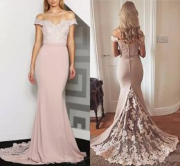$enCountryForm.capitalKeyWord Australia - Bridesmaid Dresses 2019 New Cheap Off Shoulder Long Peach For Weddings Lace Appliques Mermaid Plus Size Formal Maid of Honor Gowns Under 100