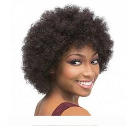 short styles for curly hair UK - Top Quality Afro kinky curly wig simulation human hair wig short bob style full wig for black women