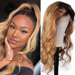 $enCountryForm.capitalKeyWord NZ - Honey Blonde Lace Front Wig Glueless Full Lace Wigs Human Hair Ombre Wig Black Roots 1B 27 Body Wave Brazilian Virgin Hair
