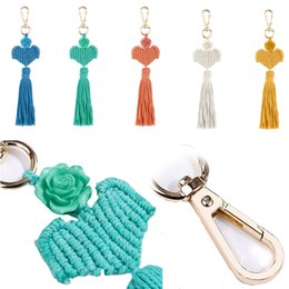 trendy hand bags Australia - Knitted Rope Knot Hand-Woven Keychain Everlasting Flower Tassel Key Rings Women Fashion Bag Car Key Holder 5 Colors for Choose