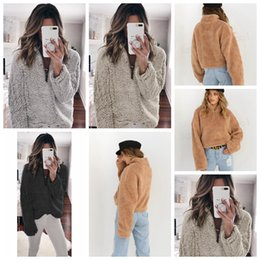 Wholesale Women Hoodies Sherpa Pullover Fleece Sweatshirt Long Sleeve Zipper Sweater T Shirt Stand Collar Hoodie Ladies Top home clothing GGA1465