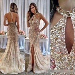 $enCountryForm.capitalKeyWord Australia - 2019 Champagne Jewel Split Crystal Beading Tulle Mermaid floor length prom dress special occasion trumpet formal party evening gowns