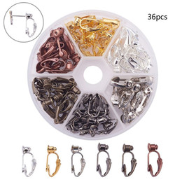 Discount pierce box - 36pcs Box 6 Colors Brass Stud to Clip on Earring Converters for Non-Pierced Ears