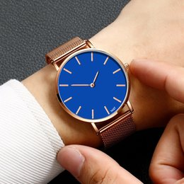 watches roses Australia - Cassic Style Watch Men Simple Blue Scale Dial Fashion Quartz Wristwatches Men' s Rose Gold Mesh Belt Strap Clock Montre Homme@50