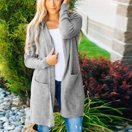 $enCountryForm.capitalKeyWord Australia - Woman Jackets Winter 2019 Trench Coat Female Women's Loose Fit Long Sleeve Knitted Women's Hooded Jackets Cardigan Coat Tops