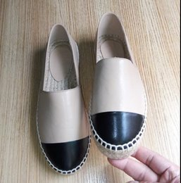 $enCountryForm.capitalKeyWord Australia - New high quality espadrilles, black sheepskin, hat, toe, espadrilles, flat shoes, black and white leather, ladies, leather shoes, 34-42