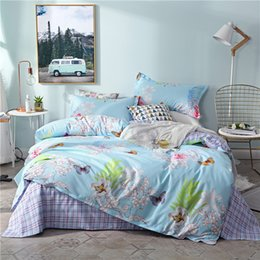 black flower comforter Australia - Blue flower 3 4pcs Bedding Sets Girls Bed Cover Set Cartoon Duvet Cover Adult Bed Sheets Pillowcases beautiful Comforter